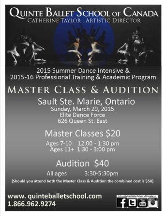Quinte Ballet School Master Class and Audition